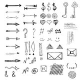 Vector hand drawn set of signs and symbols. Vector hand drawn doodles arrows and other signs and symbols set isolated on white Royalty Free Stock Photography