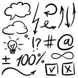 Vector hand drawn set of sketch speech bubbles clouds, arrow, thought design elements. stock illustration