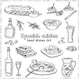 Vector hand drawn set of spanish cuisine. soup, liver in garlic Paella, meal with rice and seafood, fried cookie churros. Vintage illustration for design menus stock illustration