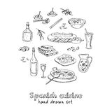 Vector hand drawn set of spanish cuisine: soup, liver in garlic Paella, meal with rice and seafood, fried cookie churros Stock Image
