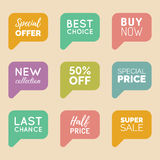 Vector hand drawn set of speech bubbles with sale phrases. Discount card collection, Buy Now,Half Price,Last Chance etc. Vector hand drawn set of speech bubbles stock illustration