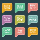 Vector hand drawn set of speech bubbles with sale phrases. Discount card collection, Buy Now,Half Price,Last Chance etc. Royalty Free Stock Photos