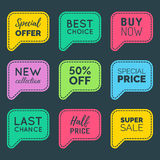Vector hand drawn set of speech bubbles with sale phrases. Discount card collection, Buy Now,Half Price,Last Chance etc. Stock Images