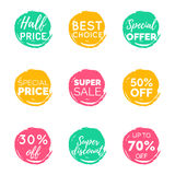 Vector hand drawn set of speech bubbles with sale phrases. Discount card collection, Buy Now,Half Price,Last Chance etc. Vector hand drawn set of speech bubbles vector illustration