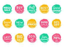Vector hand drawn set of speech bubbles with sale phrases. Discount card collection, Buy Now,Half Price,Last Chance etc. Vector hand drawn set of speech bubbles royalty free illustration