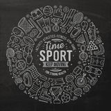 Vector hand drawn set of Sport cartoon doodle objects Royalty Free Stock Image
