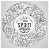 Vector hand drawn set of Sport cartoon doodle objects Royalty Free Stock Images