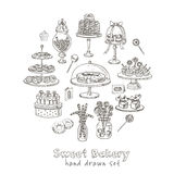 Vector hand drawn set with sweets and candies. Royalty Free Stock Photos