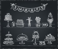 Vector hand drawn set with sweets and candies. Royalty Free Stock Image
