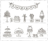 Vector hand drawn set with sweets and candies. Royalty Free Stock Images