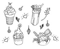 Set of coloring book elements with tasty childish things royalty free illustration