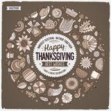 Set of Thanksgiving cartoon doodle objects, symbols and items Royalty Free Illustration