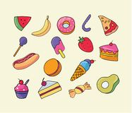 Vector hand drawn set of trendy sweets treats Illustration sticker stock illustration