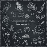 Vector hand drawn set of Vegeterian food. Vegetables, fruits. Royalty Free Stock Photo