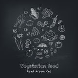 Vector hand drawn set of Vegeterian food. Vegetables, fruits. Royalty Free Stock Photography