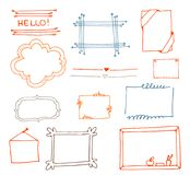 Vector hand drawn set on white background of objects:arrow, banner, word, list, brush, pen, figure, check mark. Collection of elements in doodle style.Isolated Royalty Free Stock Images
