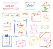 Vector hand drawn set on white background of objects:arrow, banner, word, list, brush, pen, figure, check mark. Collection of elements in doodle style.Isolated Royalty Free Stock Image