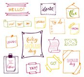 Vector hand drawn set on white background of objects:arrow, banner, word, list, brush, pen, figure, check mark. Collection of elements in doodle style.Isolated Royalty Free Stock Photos