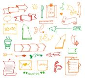 Vector hand drawn set on white background of objects:arrow, banner, word, list, brush, pen, figure, check mark. Collection of elements in doodle style.Isolated Stock Photos