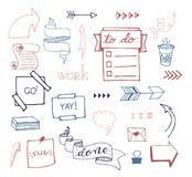 Vector hand drawn set on white background of objects:arrow, banner, word, list, brush, pen, figure, check mark. Collection of elements in doodle style.Isolated Stock Photo