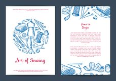 Vector hand drawn sewing elements card, flyer or brochure royalty free illustration