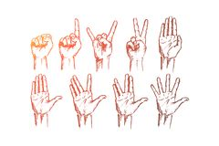 Hand drawn hands signs with conceptual lettering. Vector hand drawn Hand signs concept sketch. Set of human palms with different gestures meaning different signs Vector Illustration