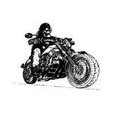 Vector hand drawn skeleton rider on motorcycle.Vintage eternal biker illustration for custom chopper garage, MC label. Stock Images