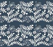 Vector Hand drawn sketch of abstract floral seamless pattern illustration on white background stock illustration