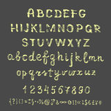 Vector hand drawn sketch alphabet on a blackboard. Royalty Free Stock Photography