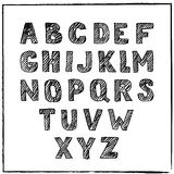 Vector hand drawn sketch alphabet. Ink scratched font. Stock Images