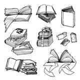 Vector Hand drawn sketch of books illustration on white background stock illustration