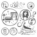 Vector Hand drawn sketch of cleanup items illustration on white background. Vector Hand drawn sketch of cleanup items illustration royalty free illustration