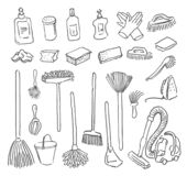 Vector Hand drawn sketch of cleanup items illustration on white background. Vector Hand drawn sketch of cleanup items illustration stock illustration