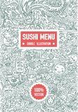 Vector Hand drawn sketch of doodle sushi menu illustration on white background vector illustration