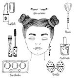 Vector hand drawn sketch fashion black and white illustration, useful big set of women`s cosmetics for design vector illustration