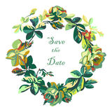 Vector hand drawn sketch floral of wreath with roses. Save the d Royalty Free Stock Photo
