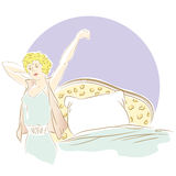 Vector hand drawn sketch - Girl stretching in the morning. Royalty Free Stock Photos