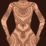 Vector Hand drawn sketch of henna pattern illustration on human body vector illustration