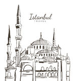 Vector hand drawn sketch illustration of Blue Mosque, Sultanahmet Camii. Royalty Free Stock Photos