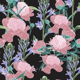 Vector hand drawn sketch illustration of pink peony and violet flowers seamless pattern. royalty free illustration