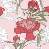 Vector hand drawn sketch illustration of pink, white peony flowers and green leaves seamless pattern. Floral pink background, backdrop element for fabric vector illustration