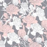 Vector hand drawn sketch illustration of pink, white peony flowers and leaves seamless pattern. Floral grey background, backdrop element for fabric, textile vector illustration