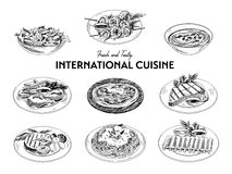 Vector hand drawn sketch international cuisine set Stock Image