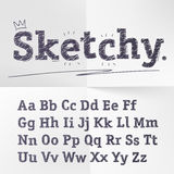Vector hand drawn sketch latin alphabet. Royalty Free Stock Images