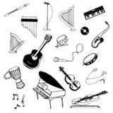 Vector Hand drawn sketch of music instruments illustration on white background stock illustration