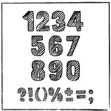 Vector hand drawn sketch numbers and signs. Ink scratched font. Royalty Free Stock Photo