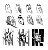 Vector hand drawn sketch of owl bird illustration on white background stock illustration