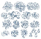 Vector Hand drawn sketch of prepositions words in vintage font style illustration on white background