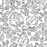 Vector hand drawn sketch rose with leaves royalty free illustration