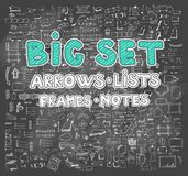Vector hand drawn sketch set on chalk background. Of planning elements with white outline: arrow, banner, word, list, brush, pen, figure, number, note, cup Stock Photos
